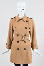 Burberry Camel Wool Cashmere Blend Double Breasted Belted Classic Trench Coat