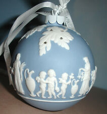 Wedgwood BLUE ICON Christmas Ball Ornament White Relief with Rhinestones New