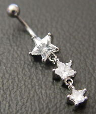 3 STARS SURGICAL STEEL BELLY or NAVEL BAR BELL RING Wicca Witch Pagan Goth