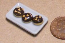 1:12 Scale 3 Chocolate Halloween Doughnuts On A Plate Dolls House Bakery  PL102