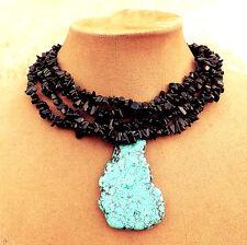 Statement Necklace GENUINE JADE Black USA Made Turquoise Freeform Slab Pendant
