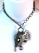 ELEGANT SILVER HEART MULTI CHARM LAYERED TASSELS NECKLACE UNIQUE GIFT (ST11)