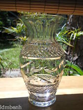 Beautiful Detailed Waterford Cut Irish Crystal 9 Inch Tall Footed Vase