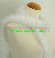 "22g White with Gold Tinsel marabou feather boa for trim & sewing 2 1/2-3""W, 72""L"