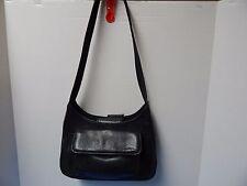 Elegant Vintage Fossil Genuine Leather Hobo Handbag Purse Black Color