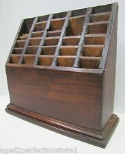 Antique Country Store Wooden Display Rack beveled top thirty hole slot holder