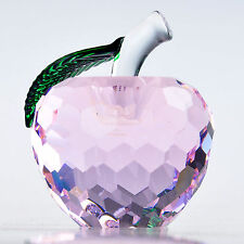 """3D Pink Crystal Apple Figurine Paperweight Ornament Wedding Decor Gift 1.6"""""""