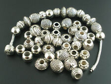 100PCs Mixed Silver Tone Acrylic Beads Spacers Beads Fit European Charm