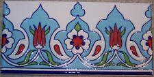 "50 Turkish Light Blue 4""x8"" Raised Iznik Ceramic Tulip & Daisy Tile Border"