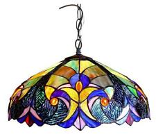 "Tiffany Style Stained Glass Victorian 2 Light Ceiling Pendant Fixture 18"" Shade"