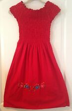 Vintage Red Cotton Muslin Traditional Peasant Dress W/ Floral Embroidery 11x37