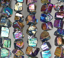 6-8MM RAW PYRITE GEMSTONE TITANIUM RAINBOW RUGGED NUGGET CUBE LOOSE BEADS 15.5""