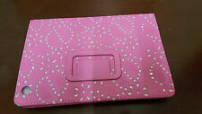 Pink Jewelled Bling Diamond PU Leather Flip Case Cover for Apple iPad mini