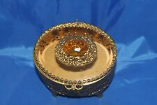 VINTAGE OVAL ORMOLU GOLD FILIGREE BEVELED GLASS TOPAZ JEWEL TRINKET BOX