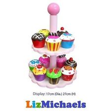 FF KIDS WOODEN TOY HIGH TEA CAKE SET STAND CUPCAKES PRETEND PLAY FOOD KITCHEN