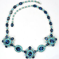 Christian Dior by Kramer Sapphire Turquoise & Aquamarines Floral Necklace