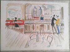 Gabriel Dauchot 1927-2005  lithographie Au Café Signée P 1018
