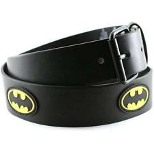 Batman - Rubber Patch Logo Faux Leather Belt - New & Official DC Comics