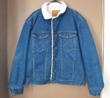 VTG WRANGLER Sherpa Jean Jacket XL Distressed Trucker Rancher Cowboy USA