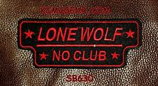 LONE WOLF NO CLUB Red on Black Small Badge for Biker Vest Motorcycle Patch