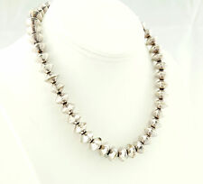 Vtg Sterling Silver Saucer Bench Bead on Foxtail Chain Necklace Chain 16.5""