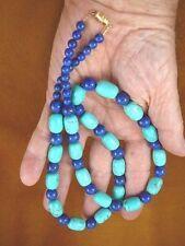 """(v326-53) 27"""" long Chinese turquoise + blue Lapis bead beaded gemstone Necklace"""
