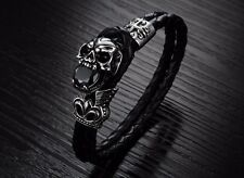 Braided Leather & Titanium Steel Skull Bracelet & Cubic Zirconia Stone/wristband
