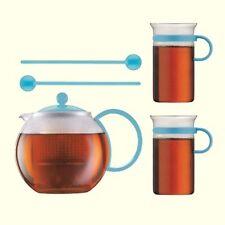 Genuine Bodum Assam Tea Set 34oz Tea Press Glass Mugs Spoons Light Blue