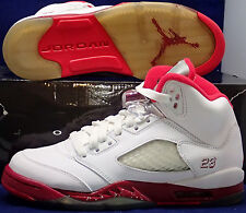 2011 Nike Girls Air Jordan 5 V Retro White Red (GS) Youth SZ 4Y ( 440892-605 )