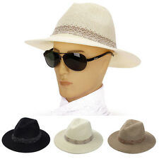 Fashion Men Summer Fedora Jazz Wide Brim Straw Trilby Panama Sun Beach Hat White
