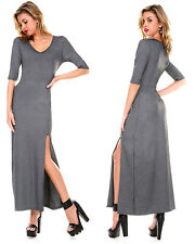 FASHION V NECK CASUAL LACE LONG SLEEVE MAXI EVENING COCKTAIL DRESS Grey Large