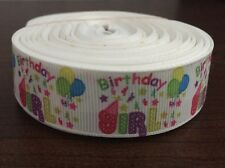 1m Birthday Girl Happy Birthday Multi Coloured 22mm Grosgrain Ribbon Cake, Craft