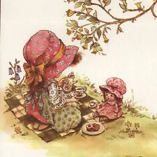"SUNBONNET GIRL..TEA PARTY PICNIC WITH TOY DOLL,""FOLD & MAIL"", NOTE CARD"