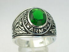 925 Sterling Silver United States Army Military May Emerald Men's Ring Size 14