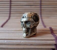 skull bead BIG Terminator of Brass.  for knives or keychain. paracord.