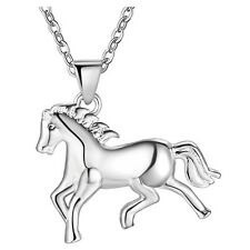 Wholesale 925 Silver Filled Necklace Animal Horse Pendant Fashion Jewelry Gift
