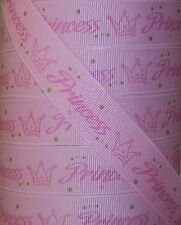 "5 Yards 7/8"" ROSE PINK PRINCESS CROWN GROSGRAIN Ribbon 4 HAIRBOW"