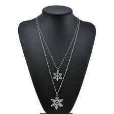 XMAS Gift Gold Silver 2 Layers Clear Crystal Snowflake Flower Necklace Pendant