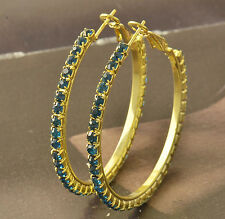 sapphire crystal 9K Yellow Gold Filled Womens HOOP EARRINGS,F5047