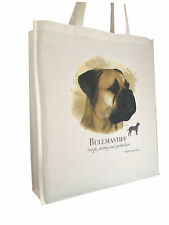 Bull Mastiff (c) Cotton Shopping Bag with Gusset and Long Handles Perfect Gift