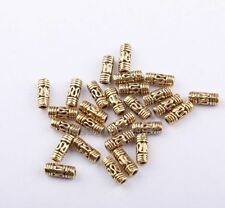 50pcs Retro Tibetan Silver Column Tube Spacer Beads for DIY Jewelry Making