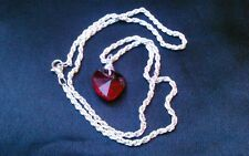 Red crystal faceted glass HEART pendant rope chain NECKLACE Valentine's Day GIFT