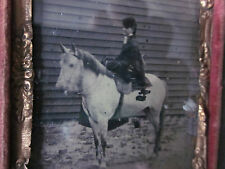 1/9 Tintype Young Woman Riding Sidesaddle on Buckskin Horse in Full Case