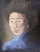 Chinese Boy Portrait Painting Illegible Signature Oil on Board 02311