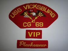 Lot Of 3 US Navy Patches: USS VICKSBURG CG-69 + VIP + PLANKOWNER