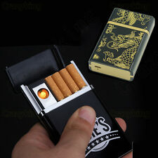 Utility Golden Dragon USB Flameless Lighter Rechargeable 8x Cigarette Case Set