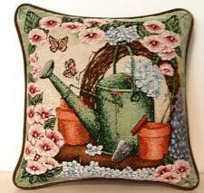 Watering Can w/ Flower Pots & Pink Hollyhocks Tapestry Pillow New