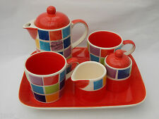 WHITTARD RED MOSAIC COFFEE SET ON TRAY COFFEE POT, 2  MUGS, MILK JUG, SUGAR POT
