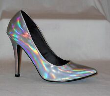 Forever 21 Silver Iridescent Holographic Heels
