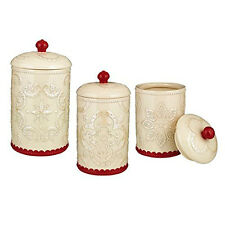 Grasslands Road Kitchen Christmas Holiday Ceramic Jars Canisters Set 3 – 472057